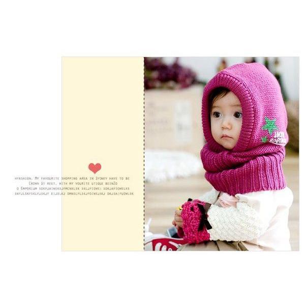 37ab342ea5df7 ... 送料無料 帽子&マフラー一体型 キッズ 子供 ベビー 赤ちゃん ニット帽 冬