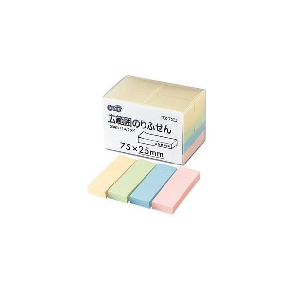 (まとめ) TANOSEE 広範囲のりふせん 75×25mm 4色 1パック(10冊) 〔×5セット〕