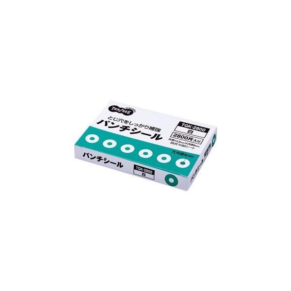 (まとめ) TANOSEE パンチシール 外径14.5mm 白 業務用パック 1パック(2800片:35片×80シート) 〔×5セット〕