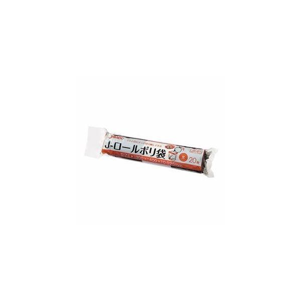 (まとめ) ジャパックス Jロールポリ袋 黒 JR01 1パック(20枚) 〔×30セット〕