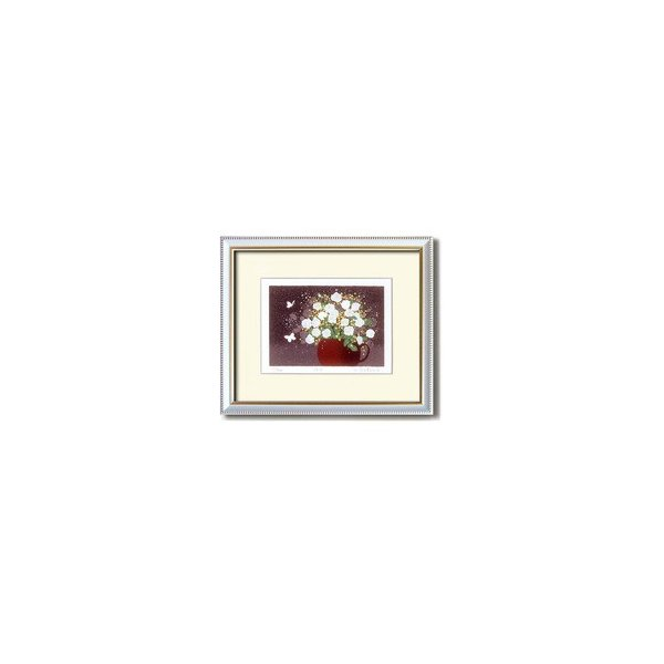 『花』風水額/シルク版画 〔吉岡浩太郎 白い花〕 吊りひも付き 日本製