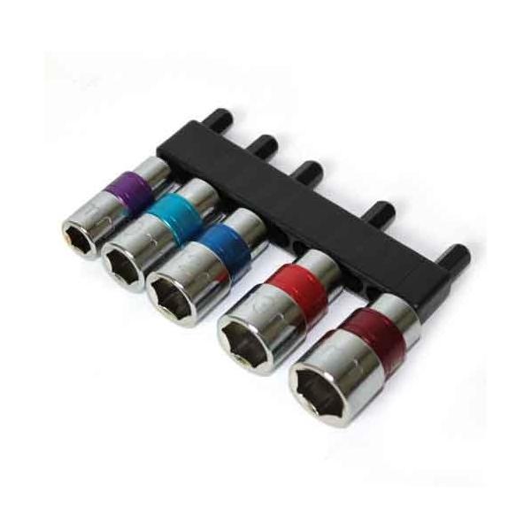 電動ドライバー ドリル用(E-VALUE)電気ドリル用ショートソケット 5本クミ810121314