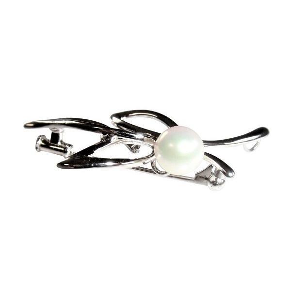 あこや 本真珠 パール SV ブローチ 5691 ホワイト 7.5-8.0mm 入学式 卒業式 フォーマル カジュアル 結婚式 パーティ
