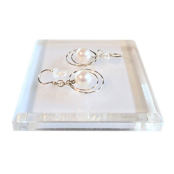 あこや 本真珠 パール K18YG ムーン デザイン  ピアス ホワイト 7.0-7.5mm 入学式 卒業式 フォーマル カジュアル 結婚式 パーティ