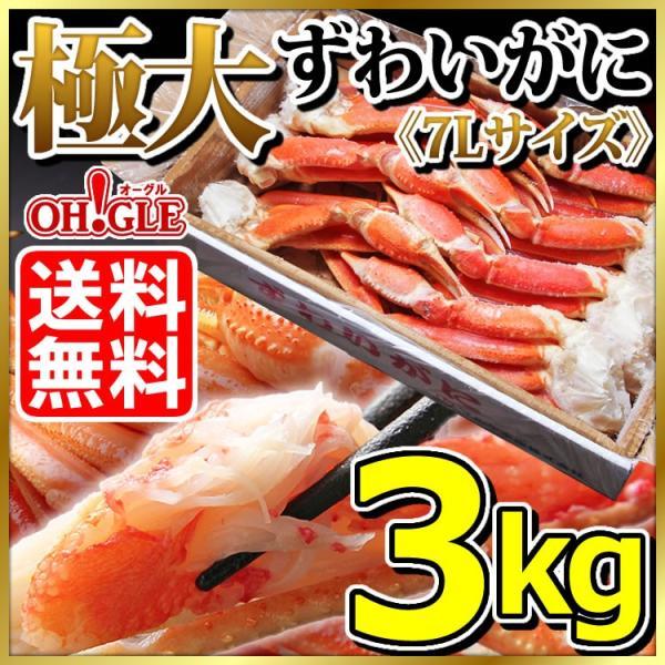 カニ かに 蟹 極大 ズワイガニ 3kg 5Lサイズ 蟹 足 脚 グルメ ギフト 送料無料|ohgle