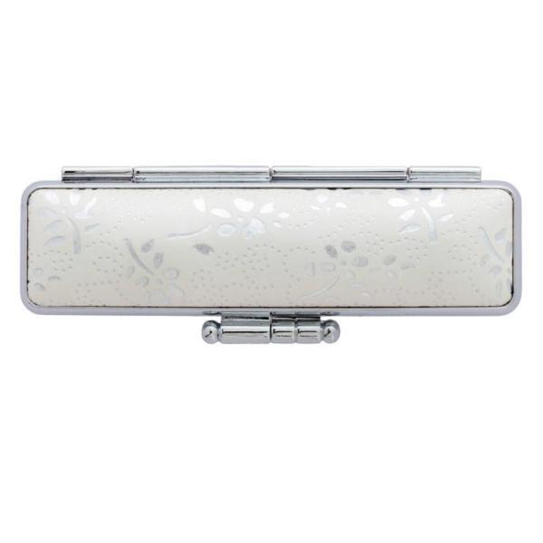 収納 持ち歩き 花柄 朱肉付 ハンコ シルバー シンプル 白 日本製 上品 印鑑ケース 銀花 12×60用 ホワイト CA-GK1201 同梱・代引不可