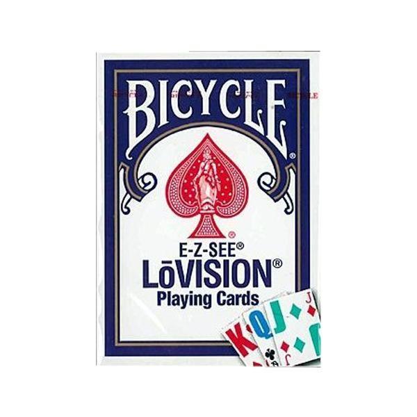 トランプ 文字見やすい マジック 手品 おもちゃ 文字大きい テーブルゲーム ゲーム プレイングカード バイスクル  ロービジョン 青(弱視者用) PC125B 同梱・代引