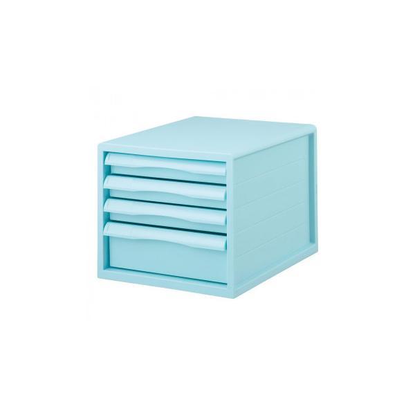 ナカバヤシ FIT COLOR A4レターケース4段 BL ブルー A4E-FC04-BL 同梱・代引不可