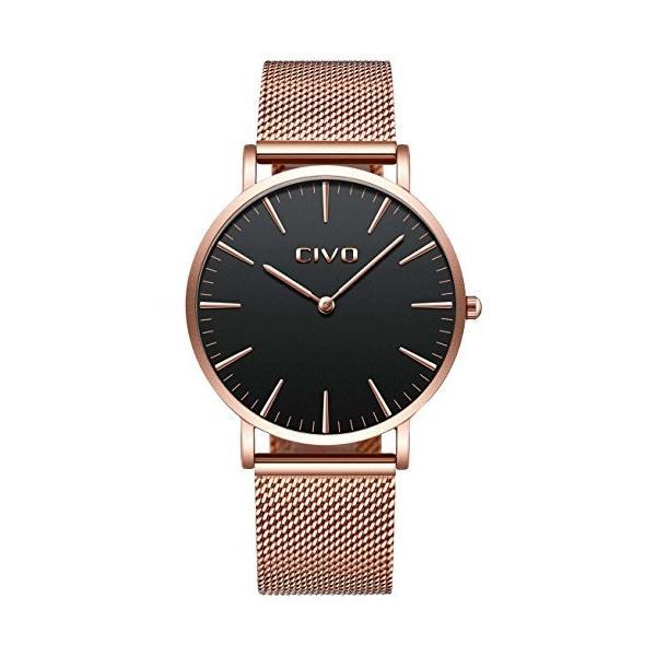 チーヴォユニセックスメンズレディースUltra Thin Watchミニマリスト高級ファッションビジネスドレスカジュアル防水クオーツ腕時計for Man Woman withローズ|ohmybox|02