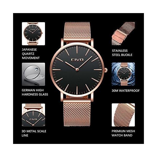 チーヴォユニセックスメンズレディースUltra Thin Watchミニマリスト高級ファッションビジネスドレスカジュアル防水クオーツ腕時計for Man Woman withローズ|ohmybox|04