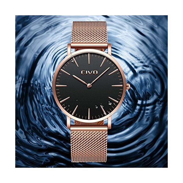 チーヴォユニセックスメンズレディースUltra Thin Watchミニマリスト高級ファッションビジネスドレスカジュアル防水クオーツ腕時計for Man Woman withローズ|ohmybox|05