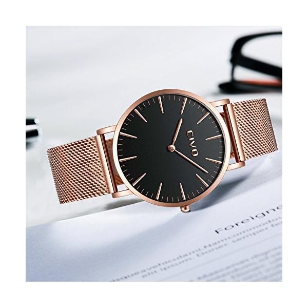チーヴォユニセックスメンズレディースUltra Thin Watchミニマリスト高級ファッションビジネスドレスカジュアル防水クオーツ腕時計for Man Woman withローズ|ohmybox|06