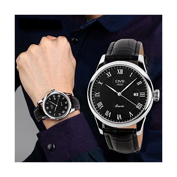 チーヴォメンズラグジュアリー日付カレンダー手首腕時計メンズカジュアルビジネスドレス防水時計シンプルなデザインファッションクラシックアナログクオーツ|ohmybox|03
