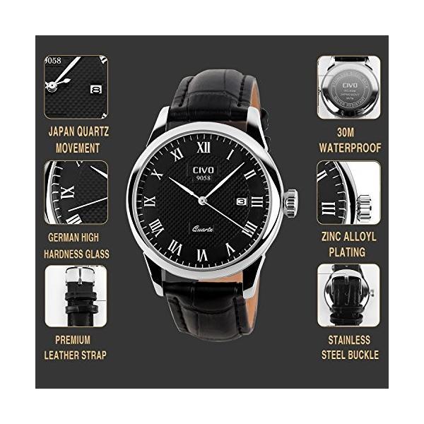 チーヴォメンズラグジュアリー日付カレンダー手首腕時計メンズカジュアルビジネスドレス防水時計シンプルなデザインファッションクラシックアナログクオーツ|ohmybox|06