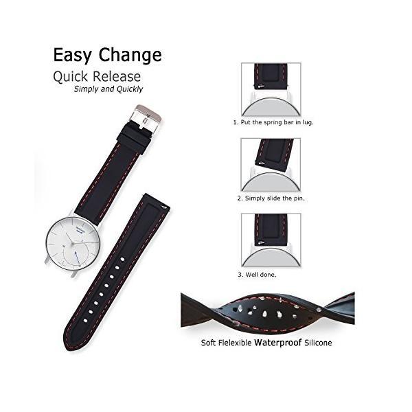 時計 ベルト 腕時計 ラバー 腕時計ストラップ 防水 柔らか スポーツ 22mm シリコーンゴム 黒-白 (その他のサイズはお問合せください)