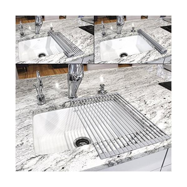水切りラック 折りたたみ シリコン 折り畳み水切り プレート シンク上 耐熱 滑り止め 錆びにくい ステンレス製 52×33cm (グレー)|ohmybox|06