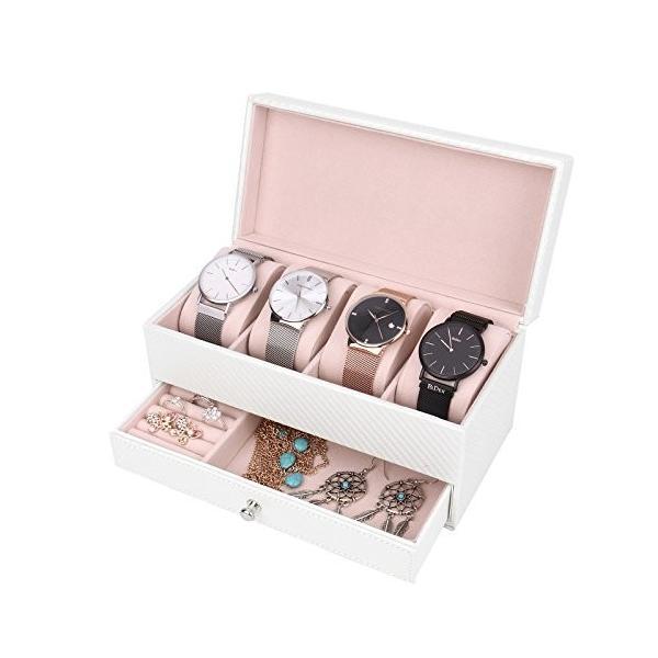 Vemupohal 2段式腕時計収納ケース 炭素繊維 パールホワイト 高級ベルベット内装 ジュエリーボックス コレクションケース 4本用  ホワイト