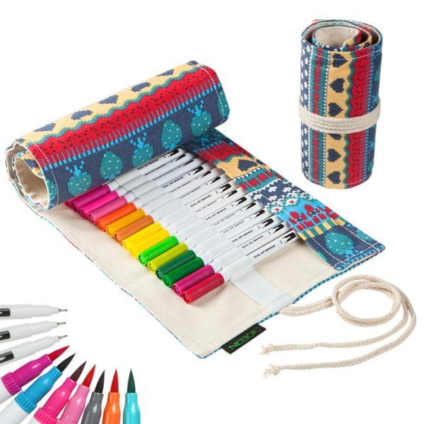 水性ペン 筆ペン カラーペンセット36色 筆ペンカラー 細字と太字両用 ペンケース帆布製付き 水彩 筆 マーカーペン 塗り絵 絵画 美術 漫画 落書用|ohmybox
