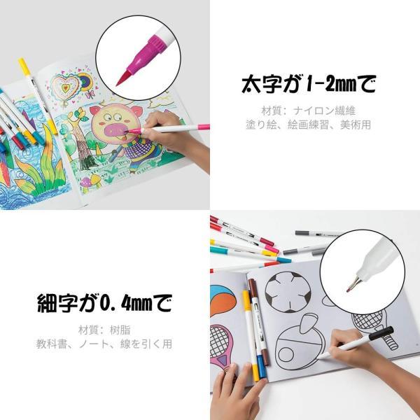 水性ペン 筆ペン カラーペンセット36色 筆ペンカラー 細字と太字両用 ペンケース帆布製付き 水彩 筆 マーカーペン 塗り絵 絵画 美術 漫画 落書用|ohmybox|04