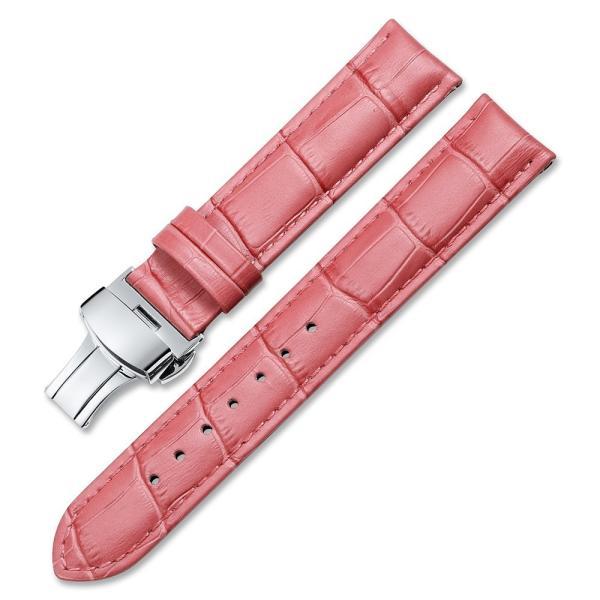 iStrap 時計ベルト Dバックル尾錠交換ベルト 6色 腕時計 ストラップ 本革 おしゃれ 耐水性 装着簡単 (19mm, ピンク)|ohmybox