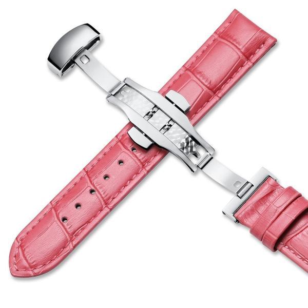 iStrap 時計ベルト Dバックル尾錠交換ベルト 6色 腕時計 ストラップ 本革 おしゃれ 耐水性 装着簡単 (19mm, ピンク)|ohmybox|02