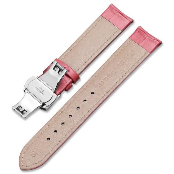 iStrap 時計ベルト Dバックル尾錠交換ベルト 6色 腕時計 ストラップ 本革 おしゃれ 耐水性 装着簡単 (19mm, ピンク)|ohmybox|03