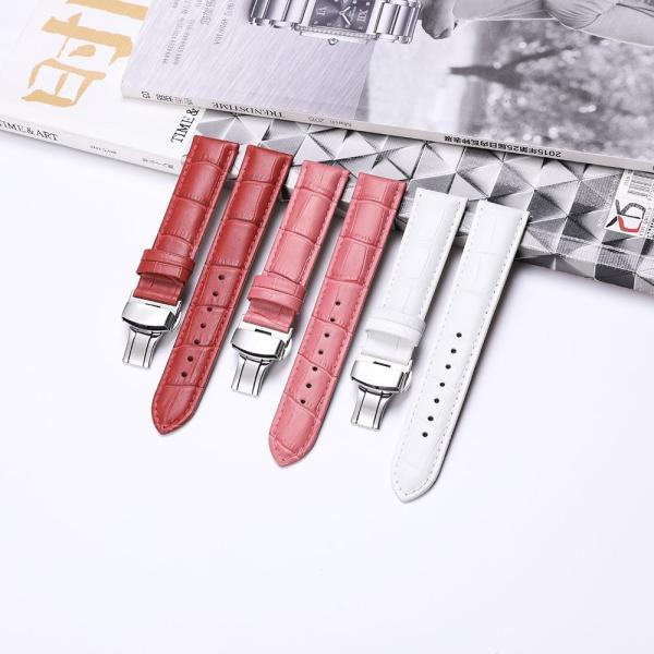 iStrap 時計ベルト Dバックル尾錠交換ベルト 6色 腕時計 ストラップ 本革 おしゃれ 耐水性 装着簡単 (19mm, ピンク)|ohmybox|04