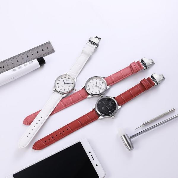 iStrap 時計ベルト Dバックル尾錠交換ベルト 6色 腕時計 ストラップ 本革 おしゃれ 耐水性 装着簡単 (19mm, ピンク)|ohmybox|05