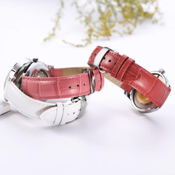 iStrap 時計ベルト Dバックル尾錠交換ベルト 6色 腕時計 ストラップ 本革 おしゃれ 耐水性 装着簡単 (19mm, ピンク)|ohmybox|06