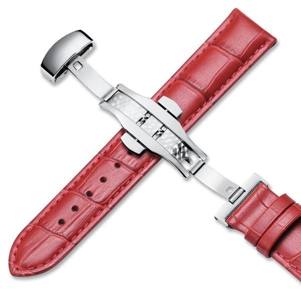 [イストラップ]iStrap 19mm レッド 本革時計バンド 腕時計ベルト プッシュDバックル 鰐皮紋様 観音開き尾錠金具|ohmybox|02