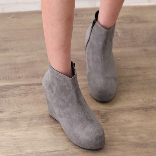 ブーツ レディース ウエッジソールショートブーツ全3色 厚底 ヒール