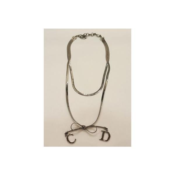 Dior Dior リボン 2重ネックレス   シルバー(CR)