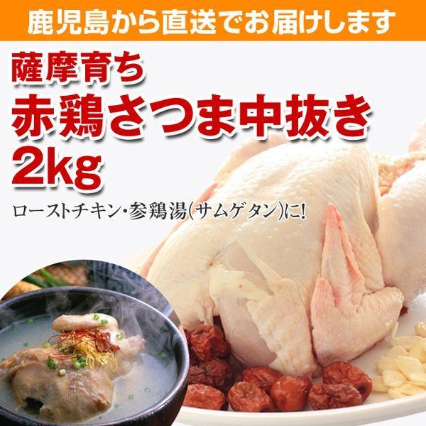 ローストチキン中抜き丸鶏 赤鶏さつま 約2K