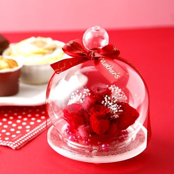 誕生日 プレゼント 花の贈り物 ガラス プリザーブドフラワー お菓子|oimoya|05