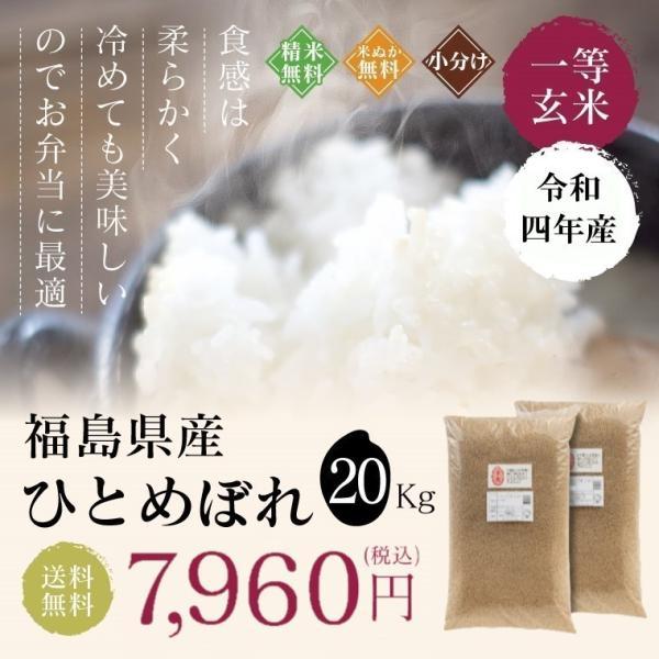 お米 20Kg 福島県産 ひとめぼれ 送料無料 無洗米 精米 令和元年産 一等米 oisiiokomedesu