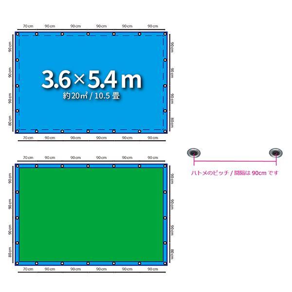 ブルーシート 防水 厚手 タープ 3000 3.6m×5.4m 青&緑 1枚|okacho-store|03