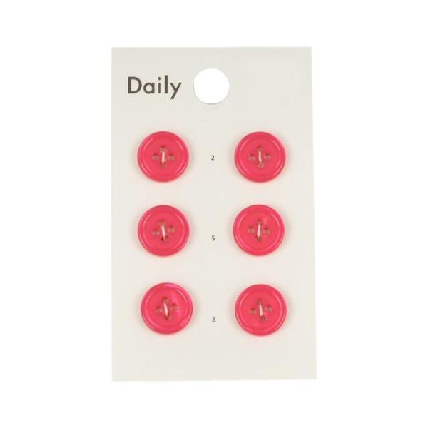ボタン Daily 貝調ポリエステル4つ穴ふちあり(OKDB-002) 11.5mm FP.フューシャピンク (H)_6a_