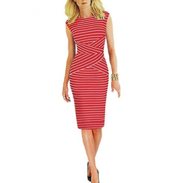 服、女性用、ドレス Viwenni? Women's Summer Striped Sleeveless Wear to Work Casual Party Pencil Dress 正規輸入品