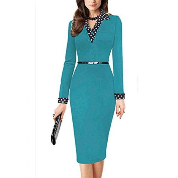服、女性用、ドレス Yomoko Women's Lapel Polka Dot Long Sleeve Wear to Work Office Pencil Dress 正規輸入品
