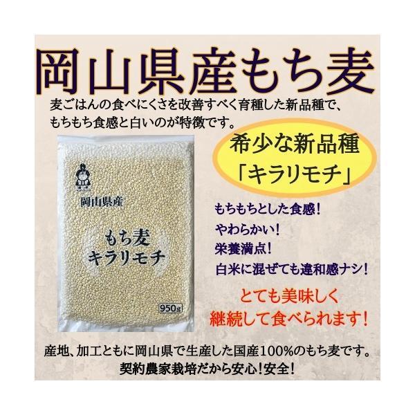 新麦 キラリもち麦 950g チャック付 令和元年岡山県産|okaman|02