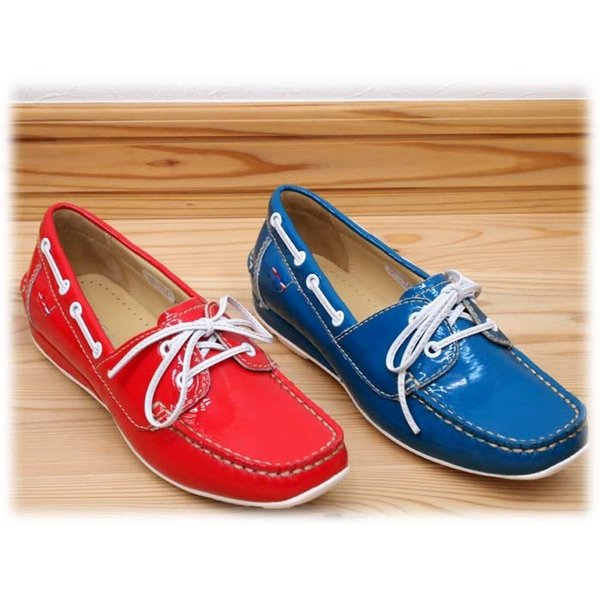 店頭展示品在庫処分  レディースデッキシューズ:2cmヒール リーガル/REGALの春夏新作靴 F91CAC ブルーエナメル レッドエナメル レデイース ladies  送料|okamotoya|02