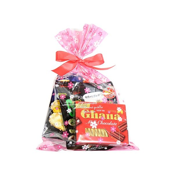 お菓子 詰め合わせ (地域限定送料無料) グリコ・ロッテ 大人のチョコレート(4種・計4コ)花柄ラッピングセット B プチギフト おかしのマーチ (omtma6006k)
