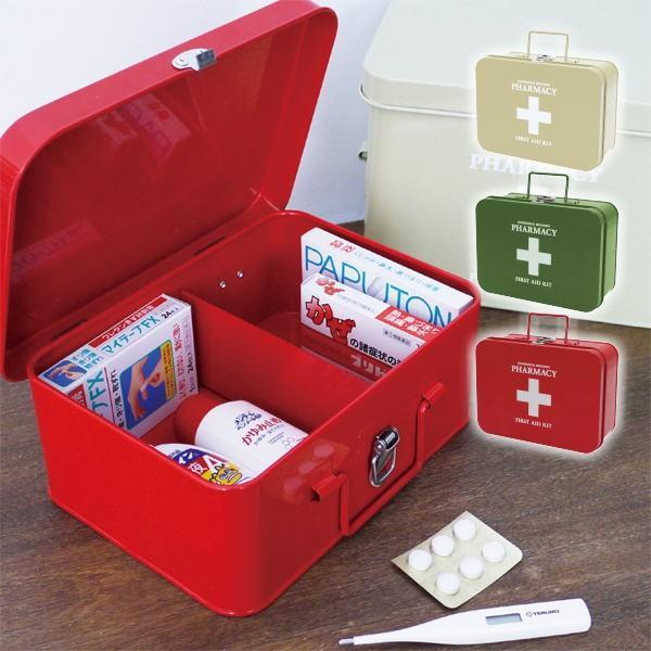 ファーマシー キャリーボックス 救急箱 ファーストエイド 薬箱 薬入れ 収納 インテリア 北欧 雑貨 おしゃれ プレゼント ギフト|okayulabo