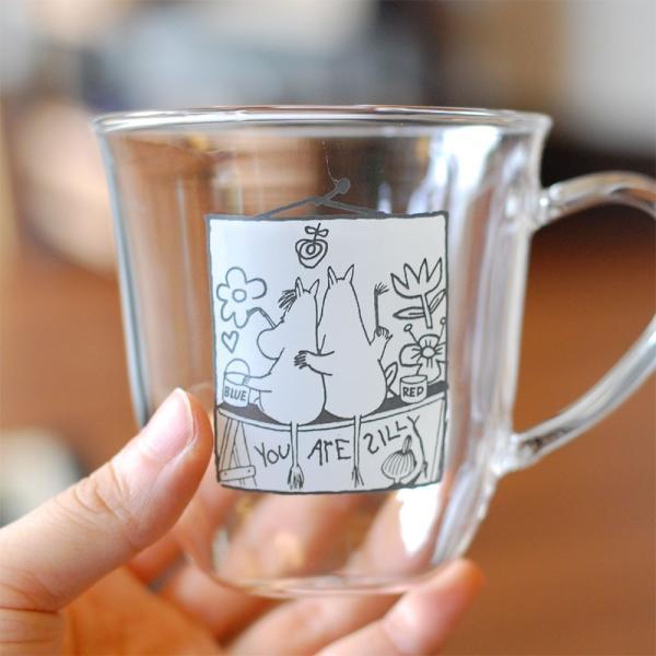 ムーミン モノトーン 耐熱ガラス マグカップ 【MOOMIN】ガラス製コップ グラス タンブラー 食器|okayulabo|02