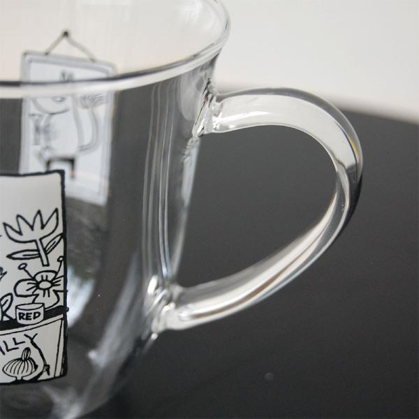 ムーミン モノトーン 耐熱ガラス マグカップ 【MOOMIN】ガラス製コップ グラス タンブラー 食器|okayulabo|03