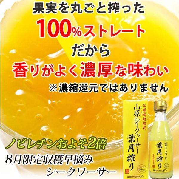 山原シークワーサー 葉月搾り (沖縄産 青切り シークヮーサー ジュース) 果汁100% 300ml|okinawaharuya|02