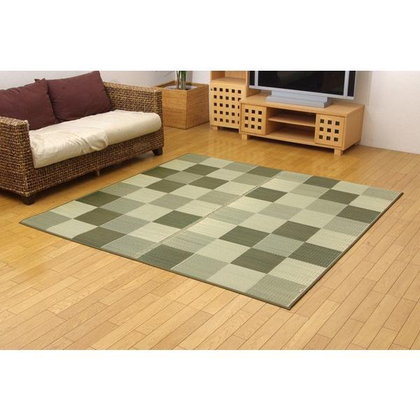 国産 い草ラグカーペット ブロック2 グリーン 約191×191cm|okitatami