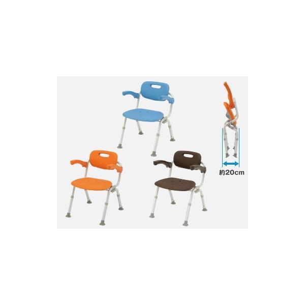 風呂椅子 バスチェア シャワーベンチ パナソニックシャワーチェア ユクリア ミドルSPおりたたみN PN-L41721【背もたれ・ひじかけタイプ】|okitatami