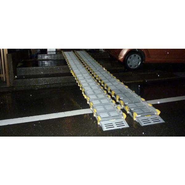巻き取り式スロープ・渡し板 スロープビルド2本タイプ 214cm (組み立て式)  屋外用段差解消・適応段差高さ:約15〜23cm okitatami 04