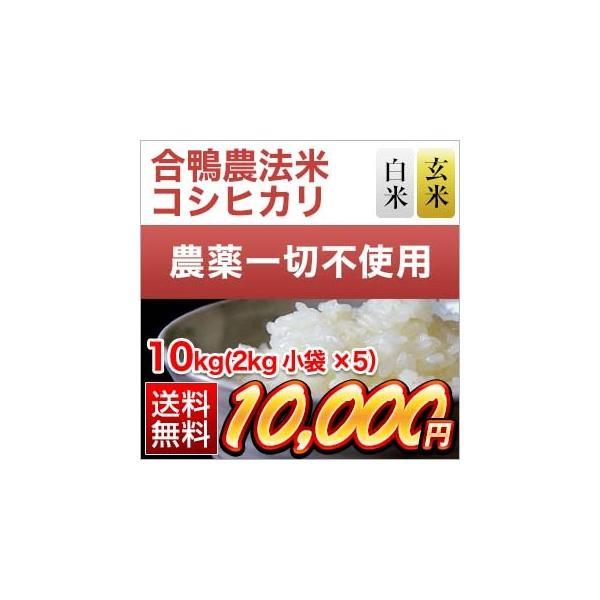 お米 合鴨農法米 熊本県産 コシヒカリ 10kg (2kg×5袋) 令和2年(2020年) 白米・玄米選択【米袋は真空包装】